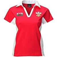 Ladies New Welsh Contrast Short Sleeved Red Rugby Shirt
