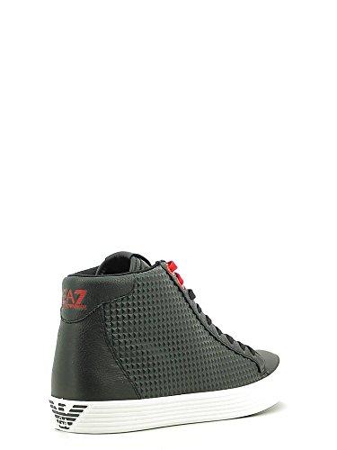 Emporio Armani EA7 scarpe sneakers alte UNISEX in pelle prisma nero 278065 6A299 BLACK NERO FOTO