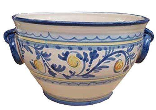 Vaso cachepot con anelli ischia in maiolica, fatto e dipinto a mano (ceramica artistica vietrese) per piante; diametro cm. 35, altezza cm. 30.