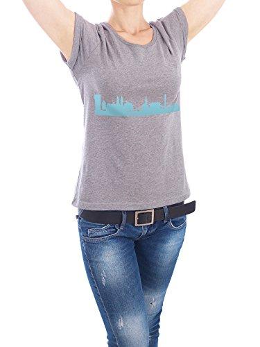 """Design T-Shirt Frauen Earth Positive """"ZÜRICH 08 Skyline Pastel-Blue Print monochrome"""" - stylisches Shirt Abstrakt Städte / Zürich Architektur von 44spaces Grau"""