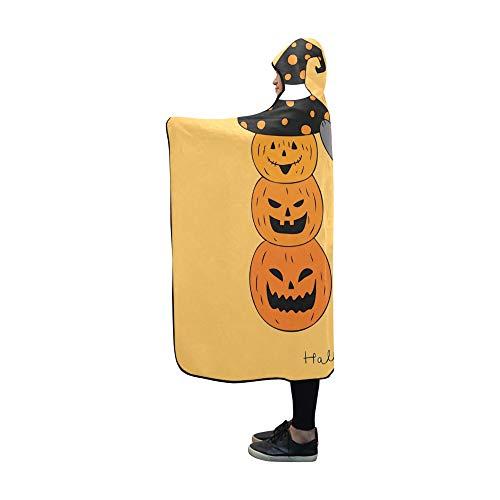 YSJXIM Mit Kapuze Decke Cartoon niedlich Halloween Katze Hut Kürbis Decke 60x50 Zoll Comfotable mit Kapuze werfen Wrap