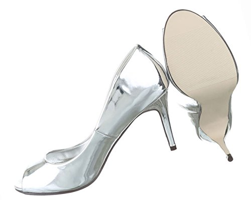 Damen Schuhe Pumps Peep Toe High Heels Stiletto Schwarz Silber