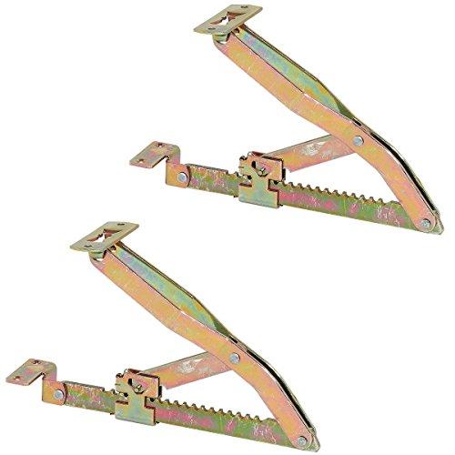 1 Paar Profi Liegen-Hochstellstütze Rasthochstell-Beschlag 375 mm für Betten & Liegen | Klappenstütze in 19 Stufen | Klappenbeschlag Stahl verzinkt | Möbelbeschläge von GedoTec®