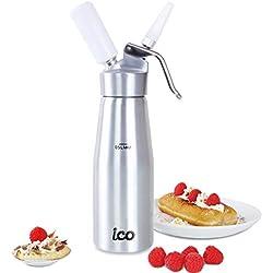 Impeccable Culinary Objects (ICO) Siphon Chantilly Professionnel Culinaire pour Mousses/Sauces/Crèmes, Corps et tête en métal (100%)