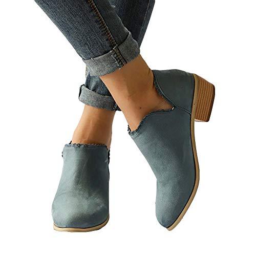 Stiefeletten Damen Leder Wildleder Sommer Low Top Ankle Boots Blockabsatz Stiefel mit Blockabsatz Elegant Schuhe Schwarz Blau Rosa Gr.35-43 GR42