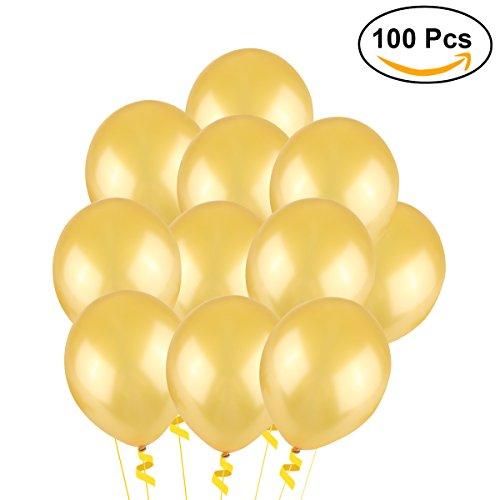 NUOLUX Luftballons Gold,Hochzeits Luftballons,12-Zoll-Latex-Ballon für Party, 100 Stück, (Golden) (Kostüm Mit Luftballons)
