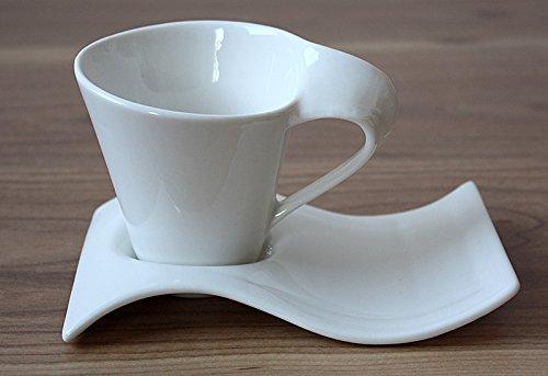 12tlg. Kaffeeservice Kaffee Service Tassen Untertasse als Kuchenteller in Weiß (L016)