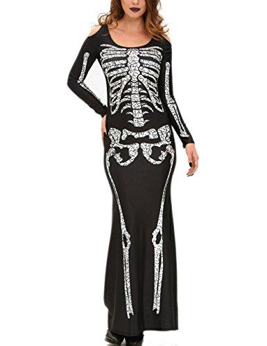 Damen Halloween schulterfrei Kleider Skelett Kostüm Party Fishtail MaxiKleider Cocktailkleid (L, (Kostüme Halloween Brautjungfern Film)