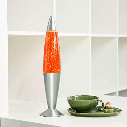 Lavalampe 42cm Orange Glitterleuchte E14 25W Kabelschalter Geschenkidee Weihnachten inklusive Leuchtmattel Retro Leuchte -