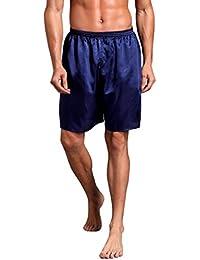Cinnamou Hombres Pijama de satén de seda Ropa de dormir Homewear Robes Pantalones Cortos Ropa interior