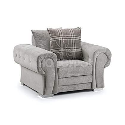 Honeypot - Sofa - Verona - Fabric - Corner Sofa - 3 Seater - 2 Seater - Footstool (Grey, Armchair)