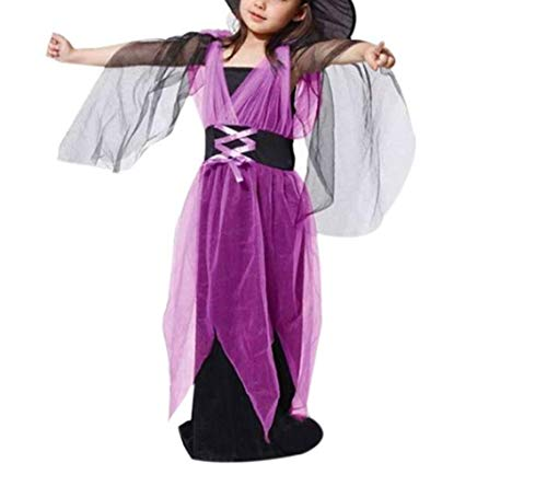 Halloween-Outfits Fancy Kleid Kids Cosplay Party-Kostüme mit Hut (Lila 160cm) ()