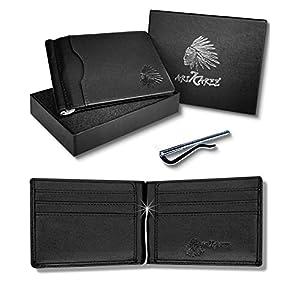 Arikaree ® Portafoglio Uomo Vera Pelle Prima Qualità Porta Carte Credito Blocco Rfid Nero Clip Fermasoldi Banconote… 1 spesavip