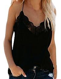 ... ❤ Chaleco de Encaje para Mujer,Camiseta sin Mangas de la Camisola de la Moda del Chaleco Atractivo del Cordón…