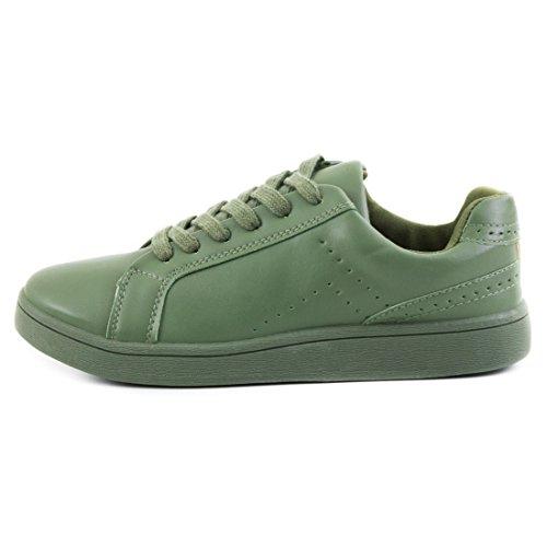 Super Trendige Vollfarbige Color Damen Schnür Sneaker in verschiedenen Farben Grün
