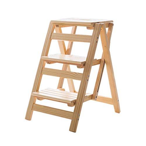JJHOME-Faltbare Leitern 3 Schritt faltender Stepladder/Stairway Chair hölzerner...