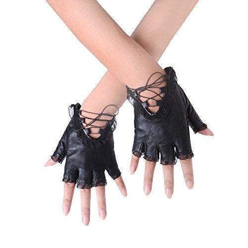 JISEN donne punk rivetti cintura fino mezze dita pelle PU guanti performance