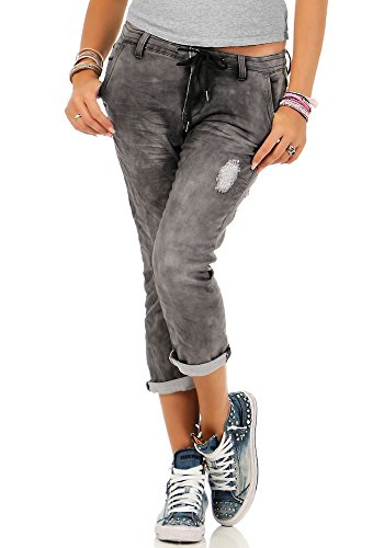 Urban Surface Damen 3/4 Jogg Jeans LUS-094 LUS-095 LUS-108 Boyfriend Hose Enlarge destroyed middle grey L