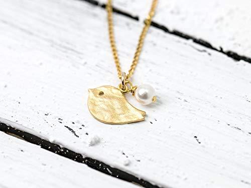 Verspielte, zierliche Perlen-Kette/zierliche Kette mit Vogel gold: Vergoldete 925er-Sterling-Silber Kettchen mit matt vergoldetem Vögelchen und kleiner Perle als Anhänger, das perfekte Geschenk (Sterling Stück Halskette Silber)