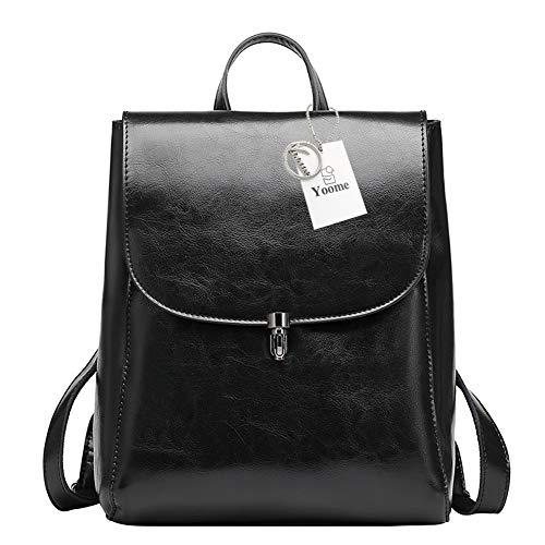 Leder Multi-tasche Rucksack (Yoome Kuh Leder Rucksack Geldbörse große Kapazität stilvolle Frauen Tasche für Multi-Way-Umhängetasche Handtasche schwarz)