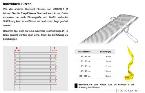 VICTORIA M Plissee Klemmfix ohne Bohren – EasyFix Größe: 60 x 200 cm, Farbe: blau - 6