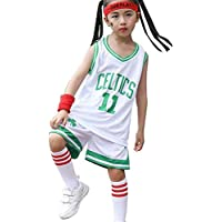Boston Celtics # 11 Camiseta Azul para niño y niña, Camiseta Deportiva con Chaleco Deportivo + pantalón Corto, Camiseta Azul para niños, Traje Deportivo sin Mangas de baloncesto-White-3XS