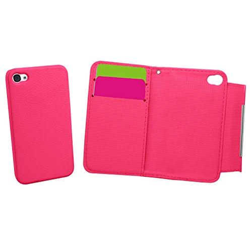 Samrick 2-in-1 Exekutive Speziell Konzipiert weiches Leder Buch Brieftasche mit Kreditkarte Halter, Handschlaufe und abnehmbare Hart Hülle für Apple iPhone 4/4S rosa Pink