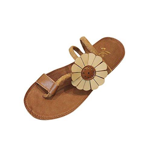 Chanclas Mujer Verano,Moda mujer flor plana talón anti deslizamiento playa zapatos sandalias zapatillas LMMVP (37.5(EU), Amarillo)