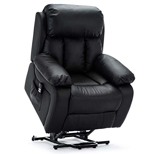 more4homes CHESTER DUAL MOTOR ELECTRIC RISER RECLINER ARMCHAIR MOBILITY BONDED LEATHER MASSAGE HEATED CHAIR (Black)