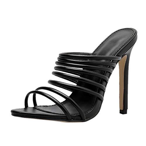 Hcfkj sandali solid women slip on sandals scarpe a punta stretta con tacco vertiginoso e tacco alto