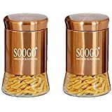 HOMIES INTERNATIONAL Glass Jar Container with Bronze/Copper/Rose Gold Plating at Outer Layer and Lid, 630 ml , Transparent -Set of 2 Pieces
