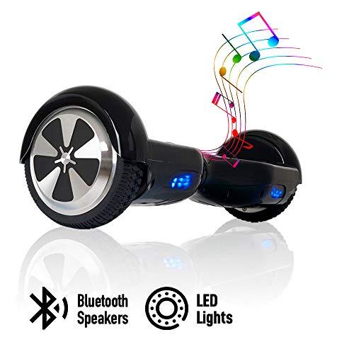 acbk - patinete eléctrico hover autoequilibrio con ruedas de 6.5 (altavoces bluetooth + luces led integradas) velocidad máxima: 10-12 km/h - autonomía 10-20 km (negro)