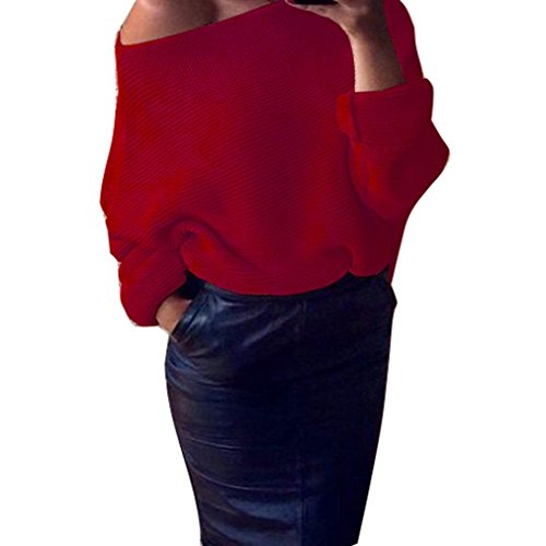 Transer ® Pull Femme,Femmes Sexy Encolure en maille tricotée Baggy Pull Rouge