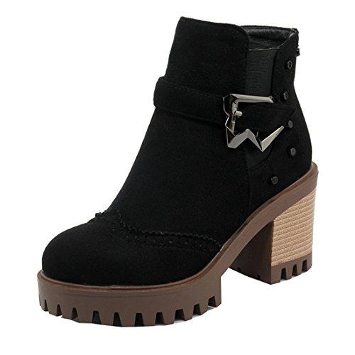 YE Damen Bequeme Blockabsatz Brogues Stiefeletten mit Nieten und Reißverschluss Schnallen 8cm Absatz Plateau Ankle Boots Schwarz