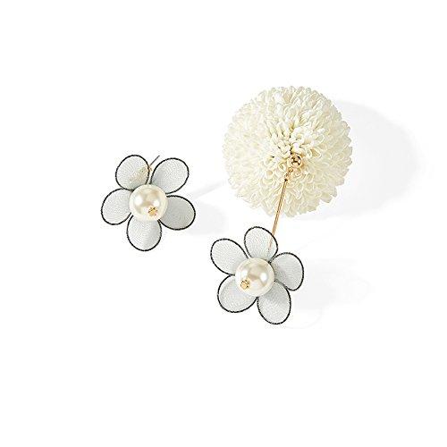 DHG Persönlichkeit Asymmetrische Blume Ohrringe, Weibliche übertriebene Nachahmung Perlenohrringe, atmosphärische Super Fee Ohr Ornament,Weiß,Einheitsgröße (Ornamenten Fee)