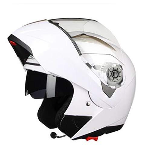 Anti-Fog Double Lens Integralhelm Klapphelm Erwachsener Motorradhelm mit Bluetooth,J-XXL=61~62cm ()