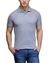6 Degree Men's Premium Rich Cotton Polo T-shirt - Grey Melange