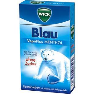 WICK Blau Hustenbonbons ohne Zucker - ein tiefes Atemerlebnis dank Menthol und natürlichem Arvensis Minz-Aroma  (20 x 46 g), 920 g