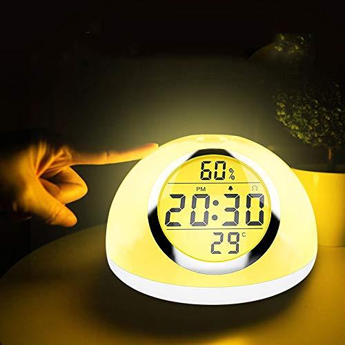 KUVV Perfecto Modernes Minimalistisches LED-Smart-Hand-Sensing-Touch-Wecklicht Sieben Farben Zeit Temperatur Luftfeuchtigkeit Wecker Anzeige USB-Ladeschreibtischlampe Nachtlicht - Sensing Bulb