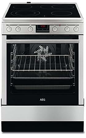 AEG 47056VS-MN Freistehender Elektroherd/60 cm Backofen mit Glaskeramik-Kochfeld/Kochzonen mit Bräterzone & Restwärmeanzeige/72 l Heißluftofen/Timer-Display/Klasse A/silber & schwarz