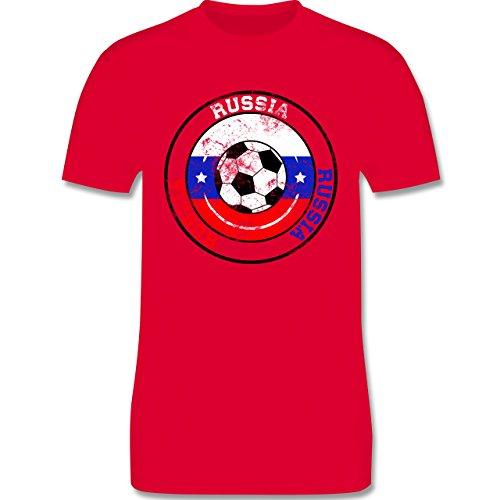 EM 2016 - Frankreich - Russia Kreis & Fußball Vintage - Herren Premium T-Shirt Rot