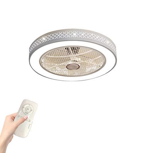 NAF Unterputz-LED-Leuchten mit unsichtbaren Deckenventilatoren Durchbrochene dekorative Metallgehäuse und Acryl Lampenschirm mit Fernbedienung, Moderner weißer Kronleuchter , 52/58 cm -