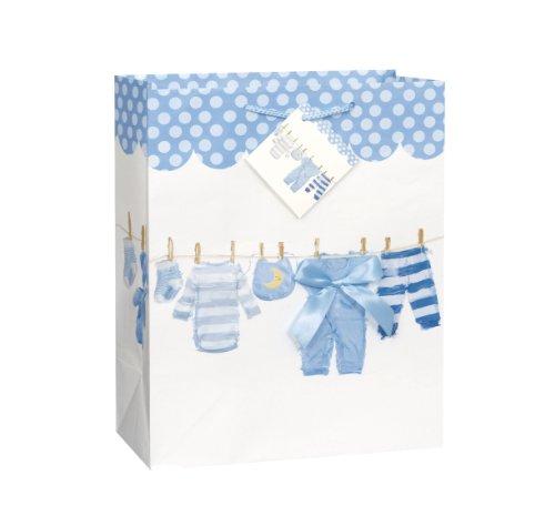 Groß Blau Baby Schleife Wäscheleine Baby-dusche Geschenk Tasche