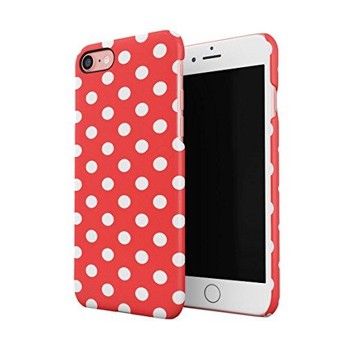 Crimson Red Polka Dots Pattern Dünne Rückschale aus Hartplastik für iPhone 7 & iPhone 8 Handy Hülle Schutzhülle Slim Fit Case Cover Hearts Hard Case, Snap