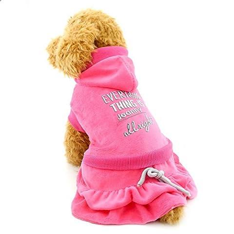 Ranphy Petit Chien en velours Robe Hiérarchisé Jupe Chien Princesse robes Sweat à capuche côtelé tenues pour animal domestique Vêtements pour chiot Chat Petit Chien