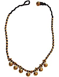 Aamori Black & Gold Beads Dokra Necklace