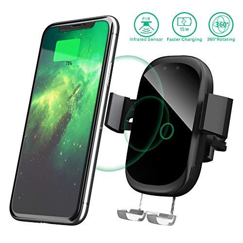 Handyhalterung für Auto, Wireless Charger Autohalterung mit Infrarot Sensor Induktions Ladegerät für iPhone XS Max/Xs/Xr/X/8/8Plus,Galaxy S9/S8//S7/S6,Note 5/8, Schwarz