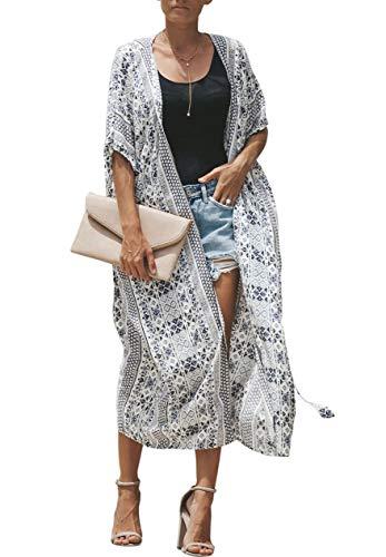 Walant Robe de Plage Femmes Grand Châle Gilets Plage Longue Kimono Bikini Cover Up Tunique en Mousseline de Soie Casual Floral Light Airy Beachwear Cardigan