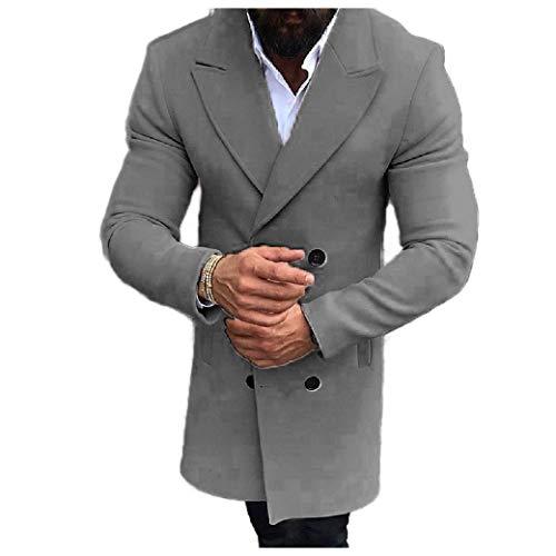 CuteRose Men's Slim Double-Breasted Woolen Fall Winter Trench Overcoat Grey 2XL -