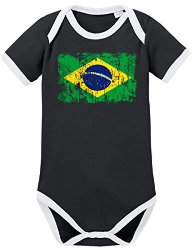 TShirt-People TSP Brasilien Vintage Flagge Fahne Kontrast Baby Body 80 (Brasilien Kostüme Für Karneval)